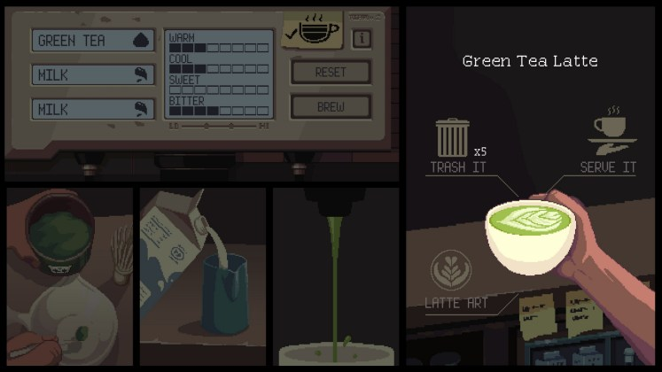 Coffee Talk Screenshot - Green tea latte and latte art