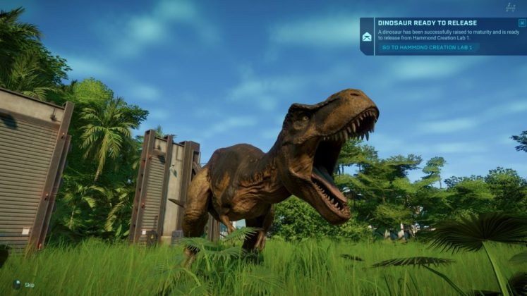 Jurassic World Evolution Screenshot - Tyrannosaurus Rex being released into an Enclosure