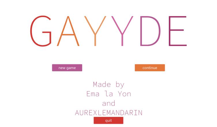 Gayyde Menu Screen