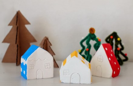 DIY mini plaster of paris Christmas village 4