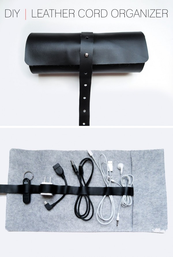 Diy leather cord organizer indie crafts Diy cable organizer