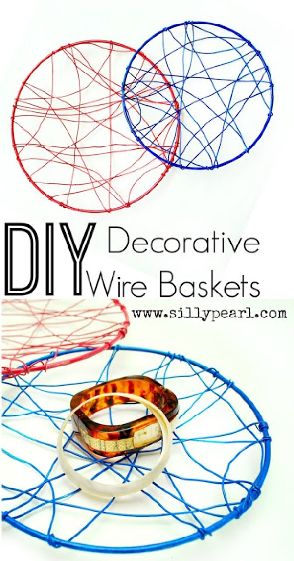 DIY Decorative Wire Baskets by The Silly Pearl