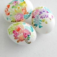 DIY Watercolor Flower Easter Eggs