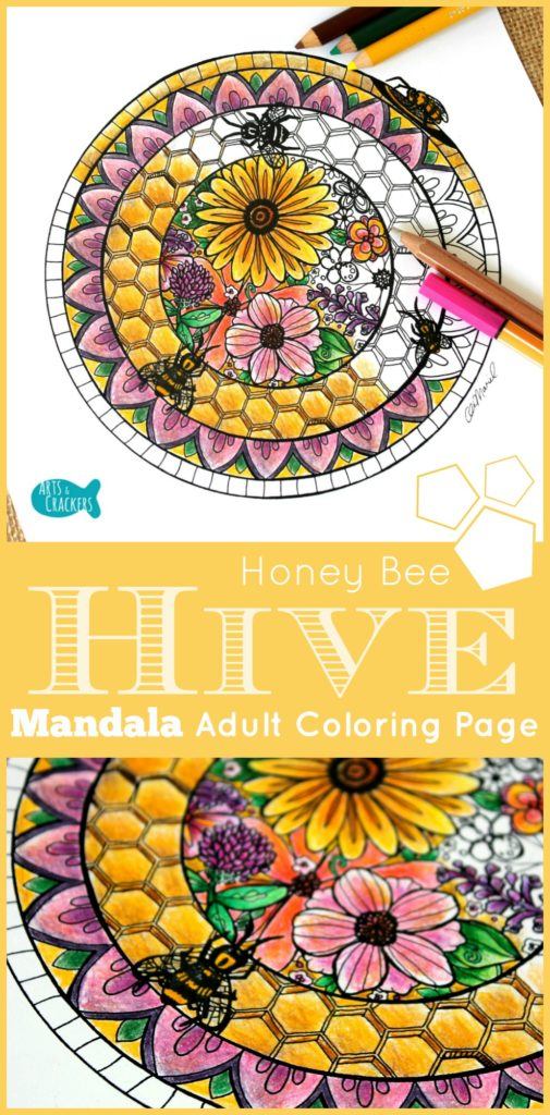 Free Bee Hive Mandala Adult Coloring Page Indie Crafts