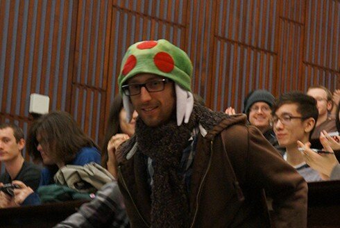 Ryan D. Roth, sound engineer extraordinaire, in the audience with an awesome hat