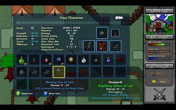 Battlepaths character stats