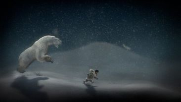 Never Alone, fleeing a polar bear