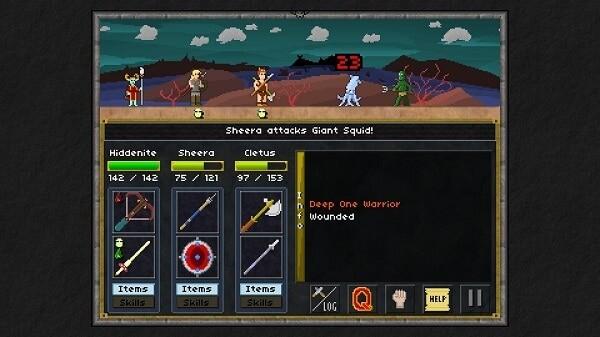 Pixel heroes, combat screen