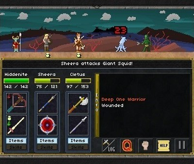 Pixel heroes, combat screen