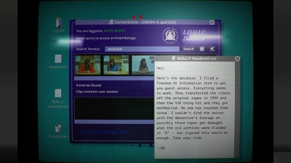 Her Story: the retro computer interface