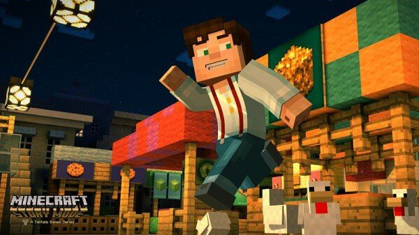Minecraft: Story Mode, running and smiling