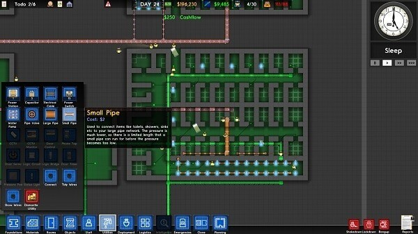 Prison Architect: Utilities screen