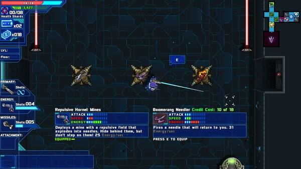 Starward Rogue game screenshot, weapons (courtesy Steam)