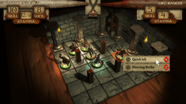 Warlock of Firetop Mountain combat sequence - screenshot courtesy Tinman Games