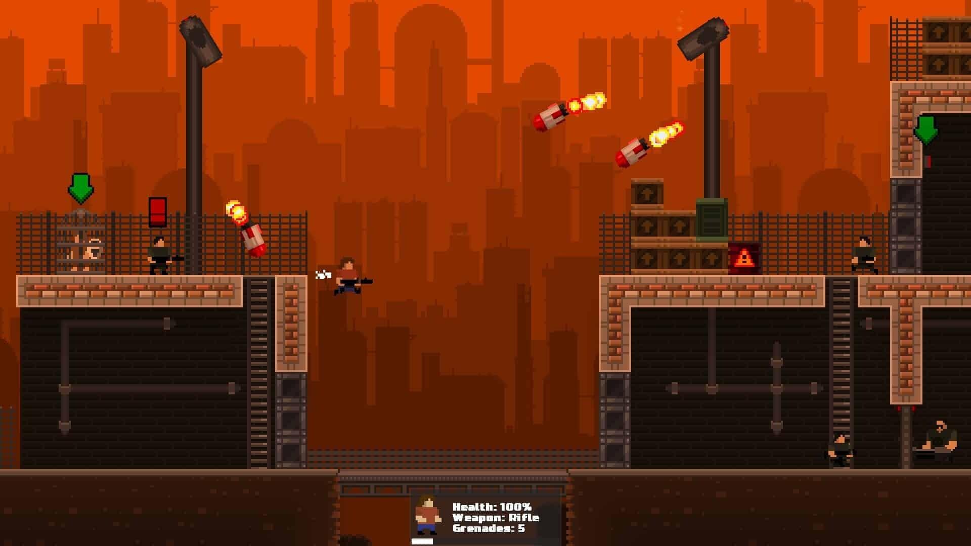 GunHero game screenshot, missiles