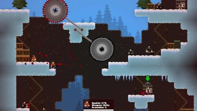 GunHero game screenshot, sawblades