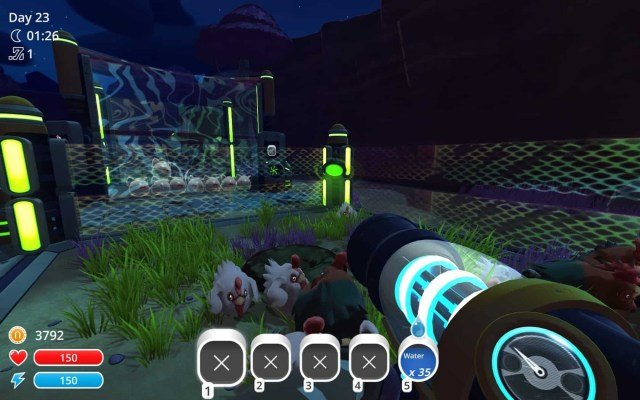 Slime Rancher - Tabby Slimes eagerly monitor the chicken coop