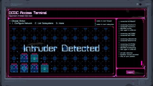Lethal Running game screenshot, hacking a computer terminal