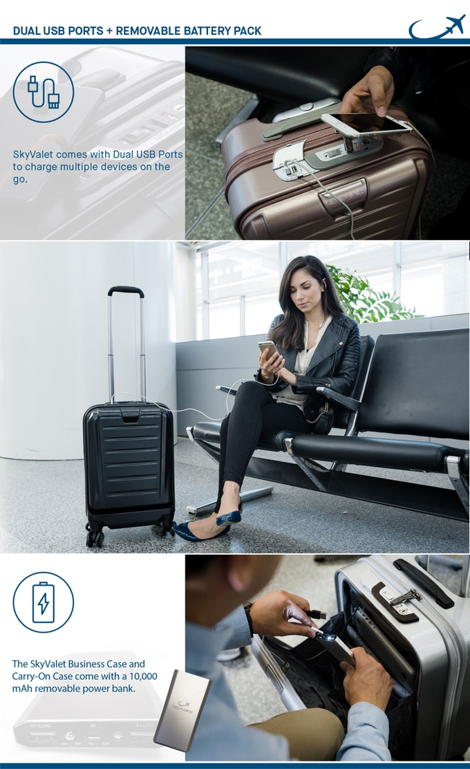 The most advanced airline approved luggage with Shark Wheels, a Wireless Charger