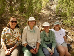 Girls on the bank: Ann, Joanne, Rosemary and Julie