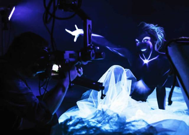 Irenka in body paint during shoot of Dreamland video.