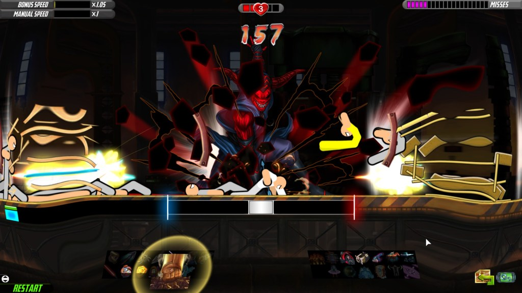 the player character is slamming the ground with their fists creating a visible shock wave that knocks over enemies