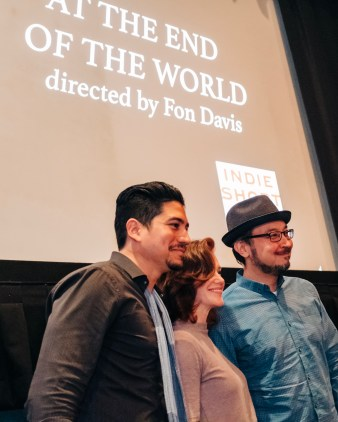 "Actors Victor Manso and A Leslie Kies, and composer Edwin Wendler, from ""At the End of the World"", during their Q&A"