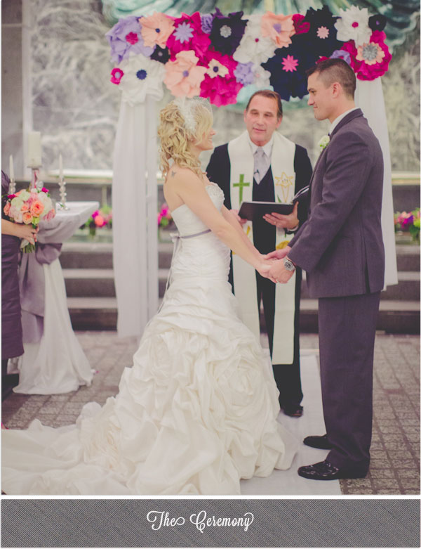 Indie Wed blog - paper flower ceremony arch - Photography by Kristin LaVoie Photography