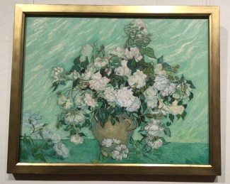 Roses, Vincent van Gogh 1890 Once red, the pigment used for these roses faded to a tinged white over time.