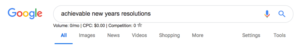 Google Search - Achievable New Year's Resolutions