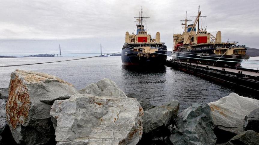 Ледоколпосле швартовки в порту Владивостока