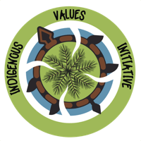 Indigenous Values Initiative logo. A tree growing on turtle island.