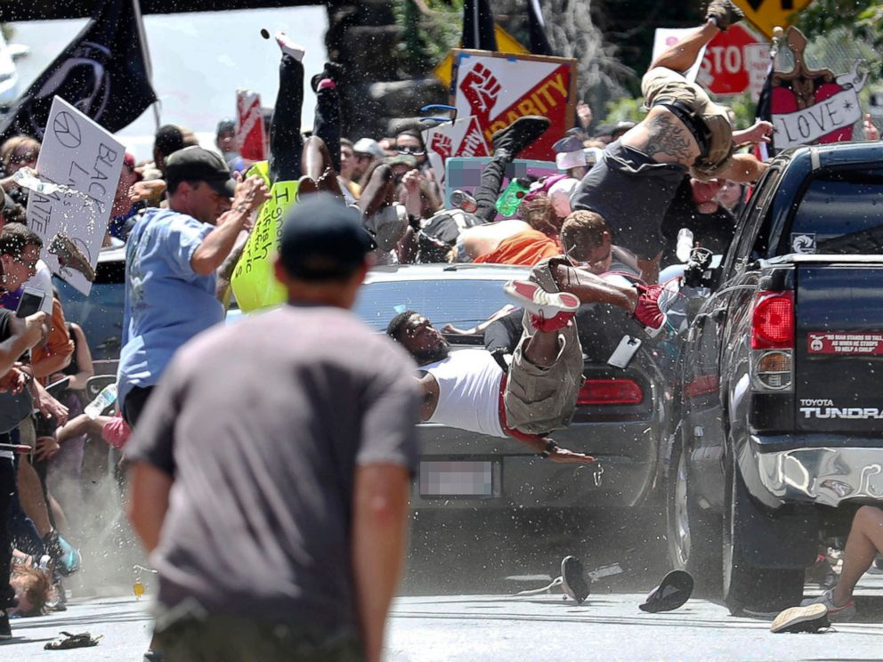 Car hitting protestors in Charlottesville