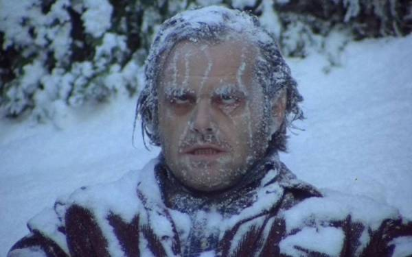 Jack Torrance frozen in the snow.