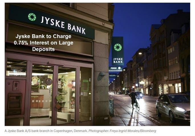 Deense en Zwitserse banken brengen klanten 0,75% rente op grote deposito's in rekening