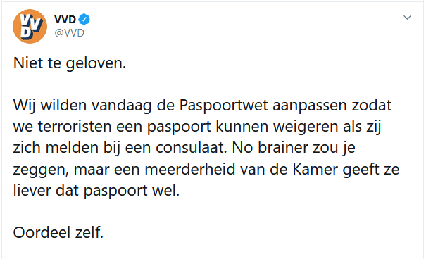 Achterbakse VVD begint verkiezingscampagne met smerige tweet: 'meerderheid Kamer wil wél paspoort aan terroristen geven'