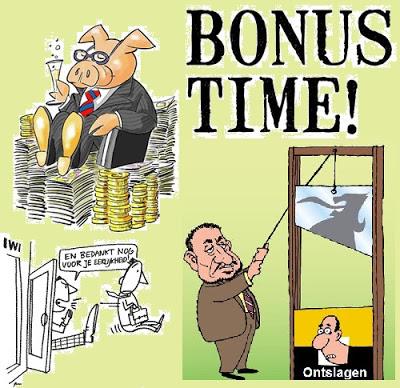 Ontslagen vanwege de crisis? En die dikke bonus van de directeur dan?