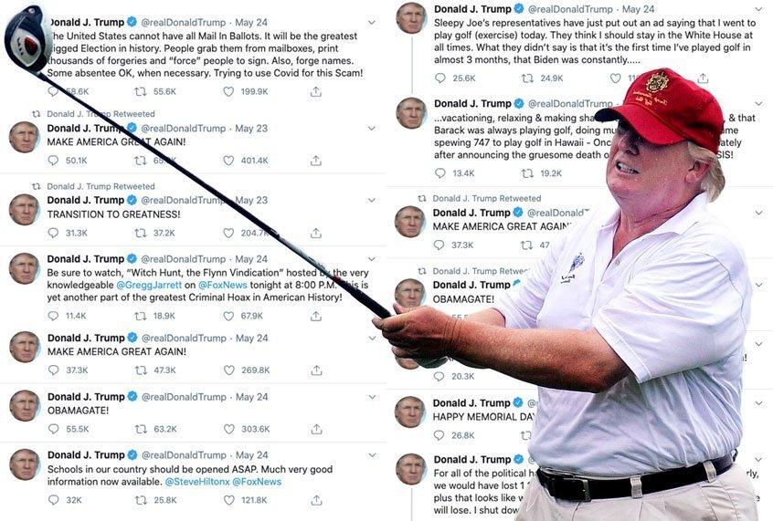 Met 100.000 doden en 39 miljoen zonder werk, gaat Trump gewoon door met complotten