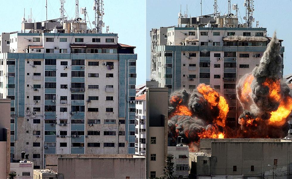 """""""Geschokt en met afschuw vervuld"""": nieuwsagentschap Gaza wordt live vernietigd op tv"""