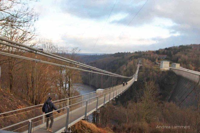 Rappbodetal: Hängebrücke bei der Rappbodetalsperre im Harz