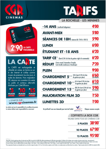 Tarifs-Mega CGR-La Rochelle