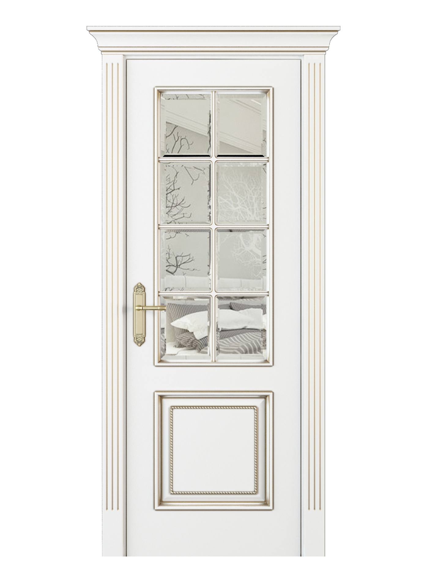 Parma Parte Interior Door Italian Enamel White Beveled Glass Indigo Doors