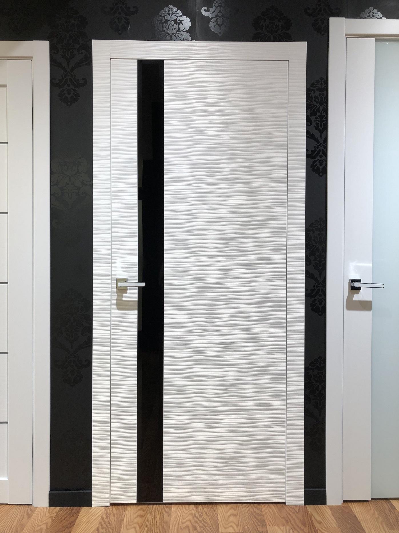Dianto Interior Door 3d White Black Beveled Glass Indigo Doors