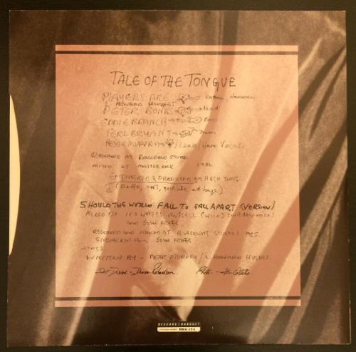 "Peter Murphy Tale Of The Tongue UK 7"" 1986 Back Cover"