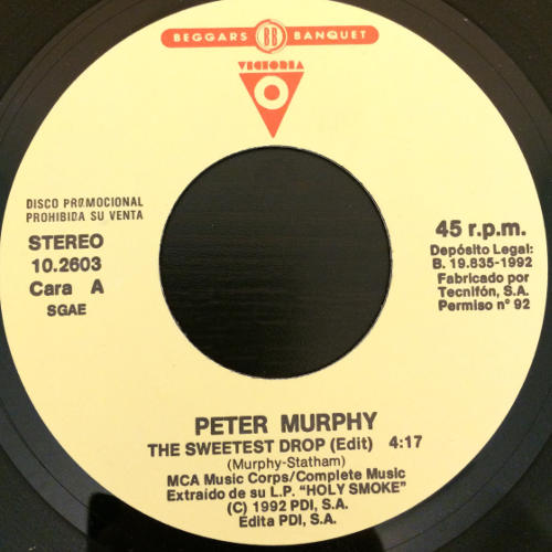 """Peter Murphy The Sweetest Drop ES 7"""" Promo 1992 A Label"""