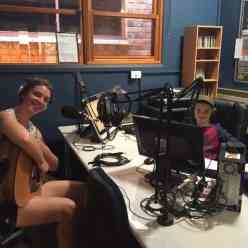 Our youngest DJ - HJ the DJ (right) chats with Georgia Ginnivan at our Yackandandah studio - January 2016