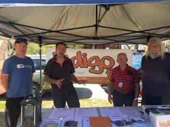 A motley crew gear up for our 2015 Radiothon (left to right) founding member Paul, current President Scott, Laurie and long-time supporter Geoff at Beechworth Farmers Market October 2015