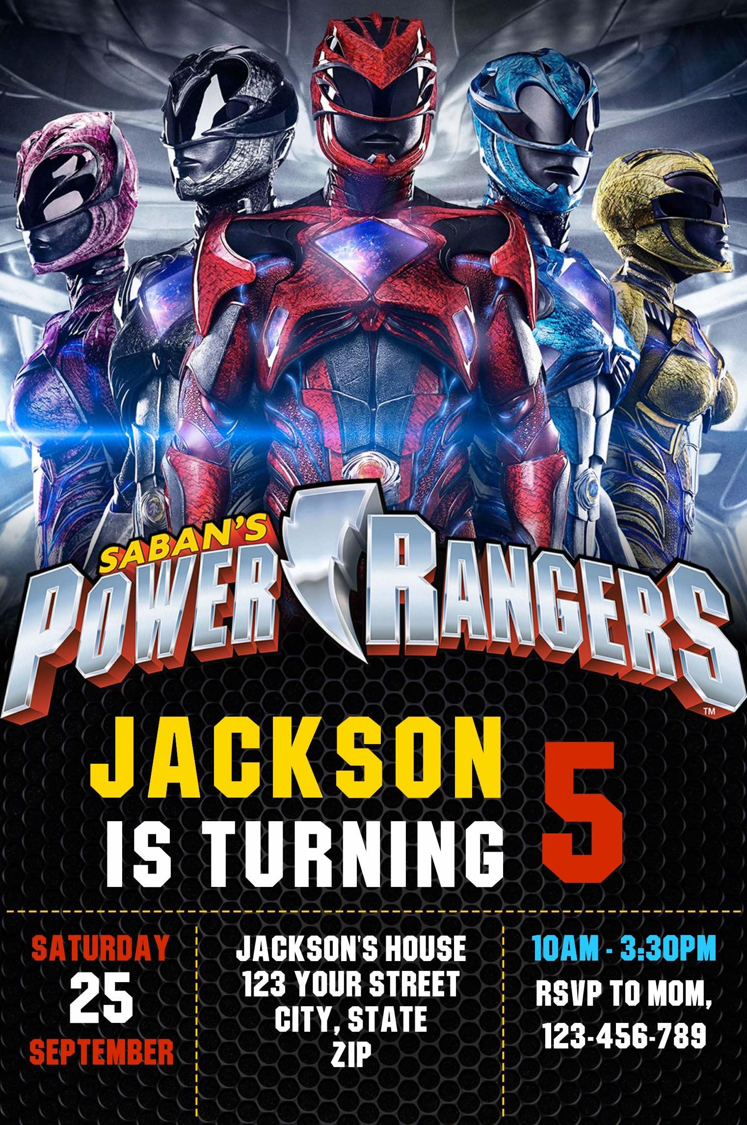 Editable Power Rangers Invitation Online Invitation Maker Indigo Invites