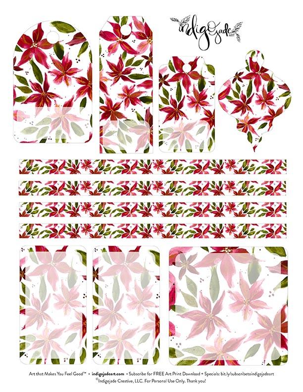 Poinsettia Tags Printable