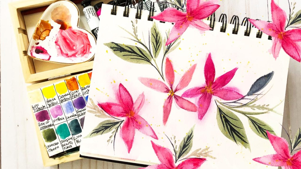 Painting poinsettias in a bee paper watercolor sketchbook
